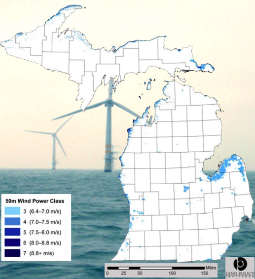 Michigan Wind Energy Zones Windmills In The Water Absolute Michigan