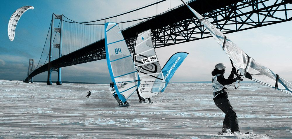 Kite Sailing Under the Mackinac Bridge