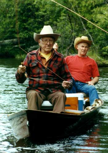 George Griffiths (left) and Bob Summers floating Michigan's Au Sable River