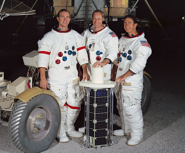Left to right: Commander David R. Scott, Command Module Pilot Alfred M. Worden, Lunar Module Pilot James B. Irwin
